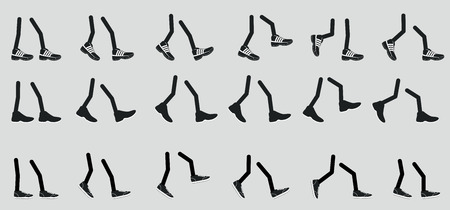 huellas pies: Varios piernas en zapatos, zapatillas de deporte para caminar pies en varias posiciones Vectores