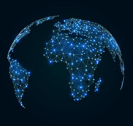 Wereldkaart met glanzen punten, netwerkverbindingen