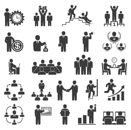 Business people in work. Office icons, conference, computer work,  team working, motivation to success Illustration