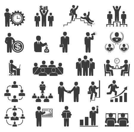 pictogramme: Les gens d'affaires dans le travail. Icônes de bureau, la conférence, le travail sur ordinateur, travail d'équipe, la motivation de la réussite