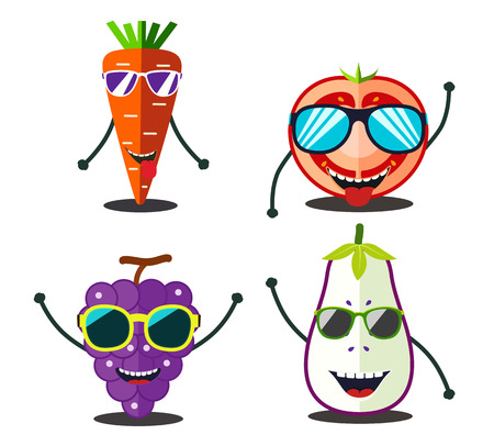 tomato slices: Funny fruits set. Design cartoon food slices of carrot, tomato, grape, eggplant. Illustration