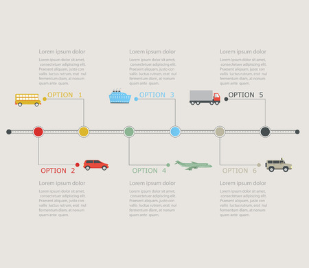 airplain: Timeline infographic with transportation icons. Stepwise structure with numbers