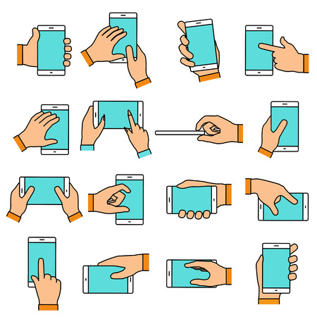 hand holding: Hand gesture on the touch screen. Hands holding smartphone or other digital devices. Line icons set with flat design elements.