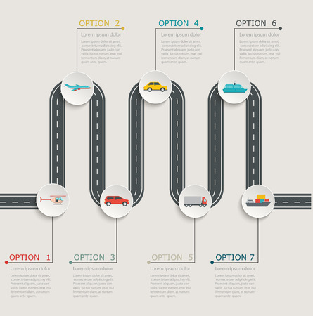 road map: Road infographic stepwise structure with transportation icons.