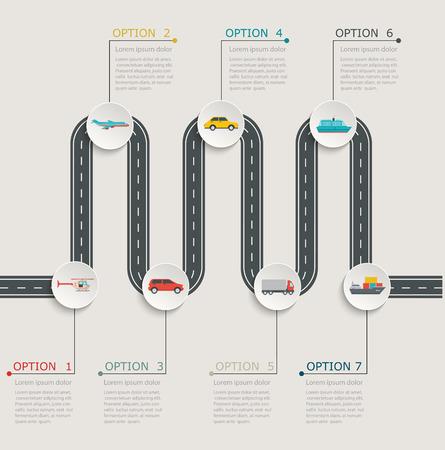 route: Structure progressive infographie route avec des icônes de transport.