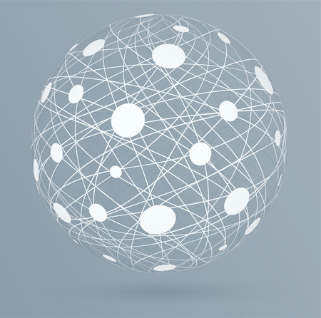 global network: Network connections with circles, global digital connections on blue background. Illustration