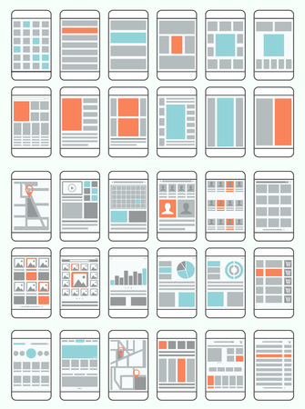 Mobile phone flow charts, wireframes, set of interface layouts for mobile applications