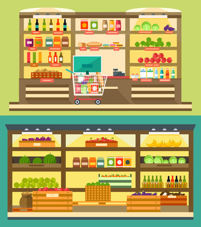 Grocery Store, supermarket shelves with food and drink, store room with products. Ilustração