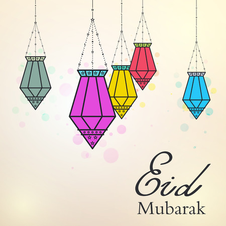 hari raya aidilfitri: Eid Mubarak background with colorful arabic lamps