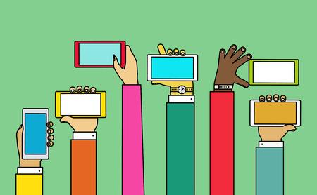 Interactie handen met behulp van de mobiele telefoon. Concept voor het web en mobiel