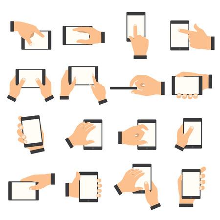 터치 스크린에서 손 제스처. 스마트 폰 또는 다른 디지털 장치를 들고 손입니다. 스톡 콘텐츠 - 44336890