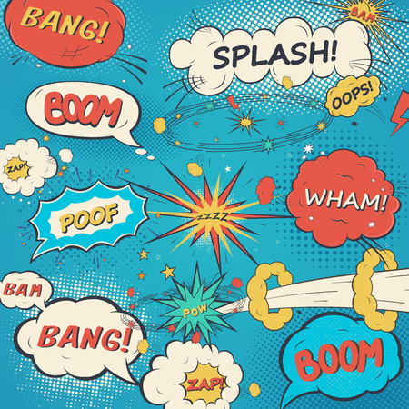 bomb explosion: Pattern comic speech bubbles in pop art style