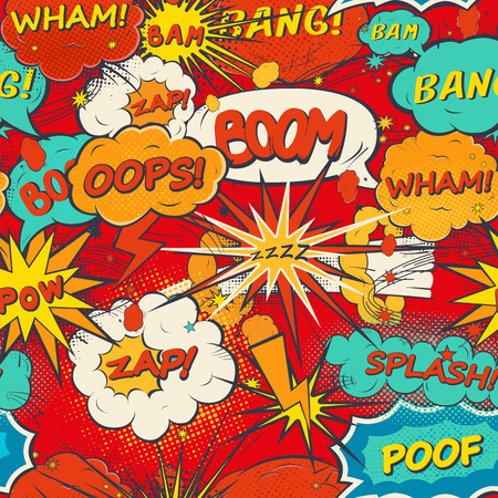 cartoon superhero: Seamless pattern comic speech bubbles in pop art style