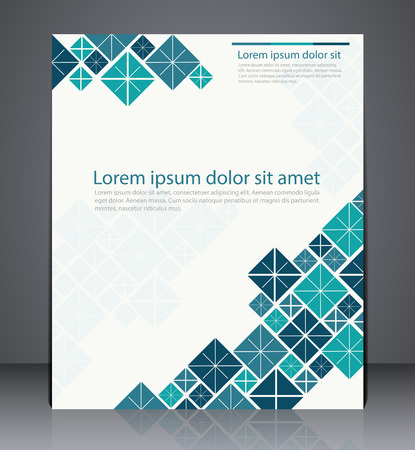 Vector layout  brochure, flyer design template, web, or magazine cover design with squares in blue colors Illusztráció