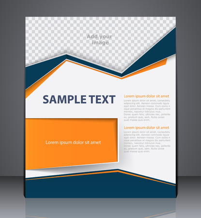 Vector business brochure flyer design layout template, cover design in blue and orange colors Ilustração
