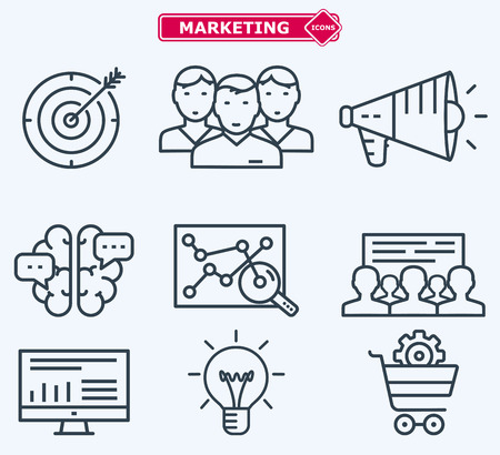 consumer society: Marketing flat  line icons. Training, development, planning, goals.