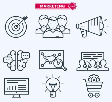 Marketing icone linea piatta. Formazione, sviluppo, pianificazione, obiettivi. Archivio Fotografico - 44336965