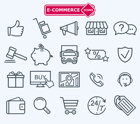 qualities: lines icons set, e-commerce, shopping