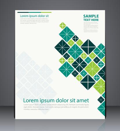 informe: Vector de diseño de folletos, diseño de la plantilla volante, web, o el diseño de portada de una revista con formas geométricas en colores verdes