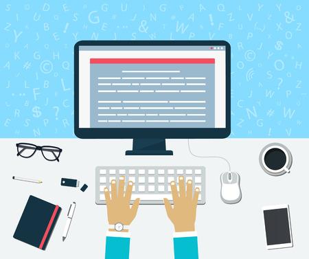 Man writing: Vista superior del lugar de trabajo. Entrar del contenido en el equipo Vectores