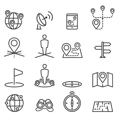 Kaart pictogrammen en locatie op terrein Stock Illustratie