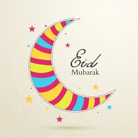 Eid Mubarak concept with colorful moon on light background with a pattern
