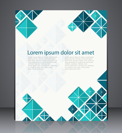catalogs: Vector layout  brochure, flyer design template, web, or magazine cover design with geometric shapes in flat style blue colors