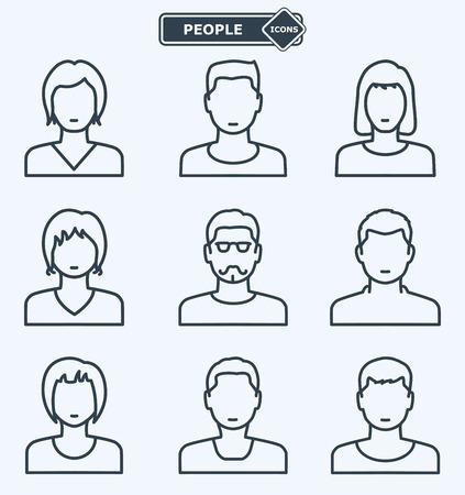 De pictogrammen van mensen, lineaire vlakke stijl