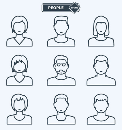 human head: People icons, linear flat style