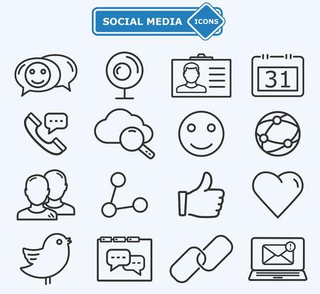 tecnolog�a informatica: Medios de comunicaci�n social y las l�neas de la red iconos Vectores