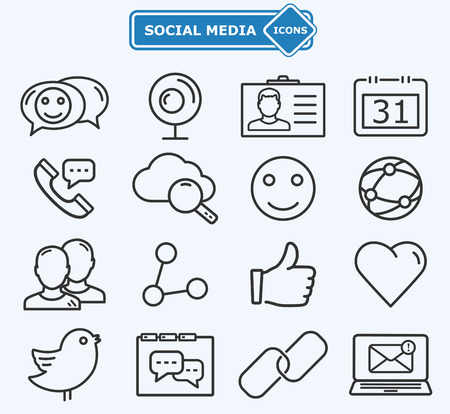 sharing information: Social media and network lines icons Illustration