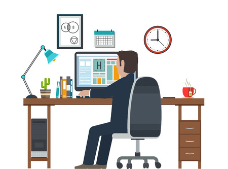 interior designer: Designer in the workplace, workstation. Creative equipment in office interior. Illustration