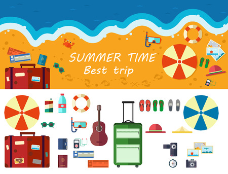 sunny beach: Summer time traveling, beach rest, template with beach summer accessories Illustration