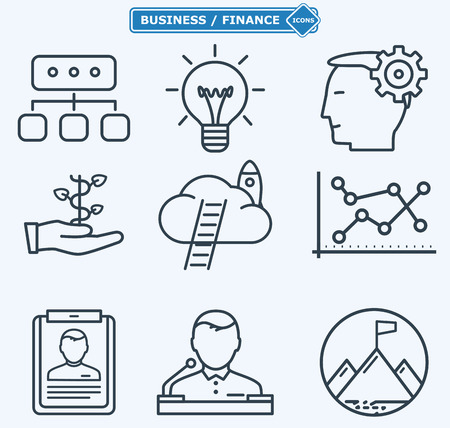 seminar: Line icons, business people in a work process,  company seminar training, workforce management