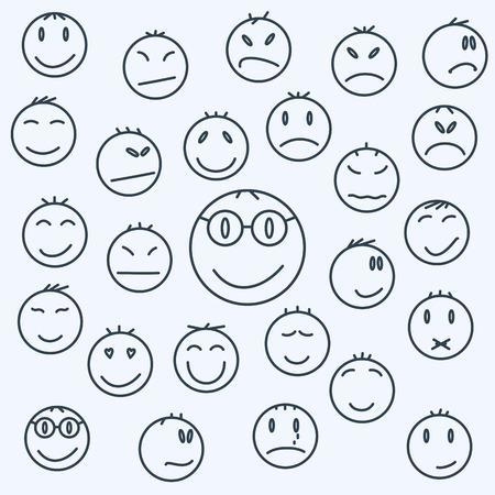 carita feliz caricatura: Caras emocionales de dibujos animados, cómics conjunto expresaron.