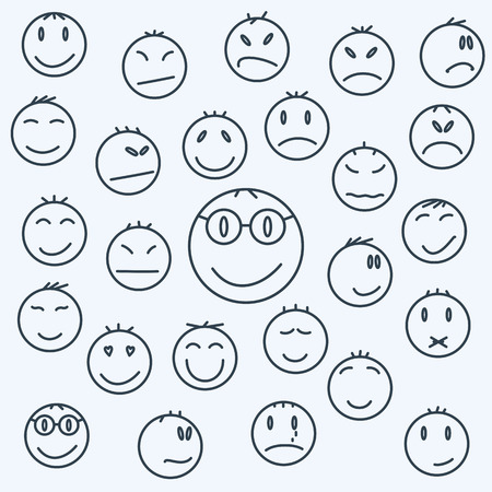love sad: Cartoon emotional faces, set comics expressed.