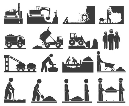 Ð¡onstruction grondwerken iconen Winning van delfstoffen steenkool, olie, goud, reparatie van pijpleidingen
