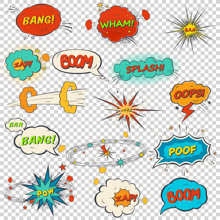 Set of multicolored comic sound effects