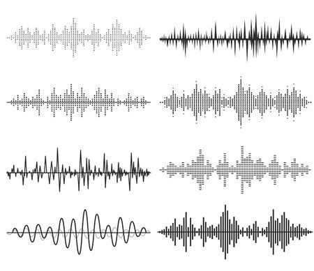 vague: Ondes sonores de la musique noire. La technologie audio, pouls musical. Illustration
