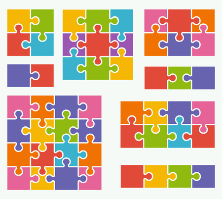 Parts of puzzles on white background in colored colors. Set of puzzle 2, 3, 4, 6, 8, 9, 16 pieces Ilustração