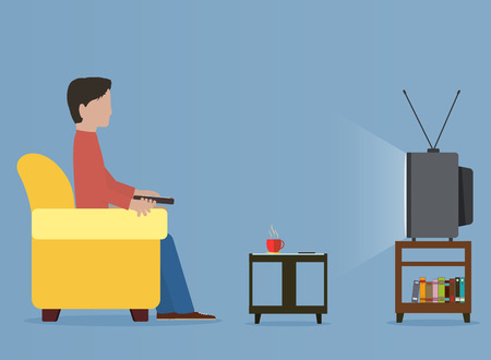 sitting people: Man watching old television on sofa Illustration