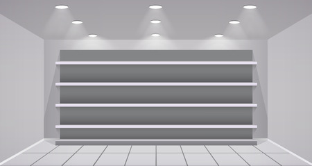 forepart: Interior store with empty shelves