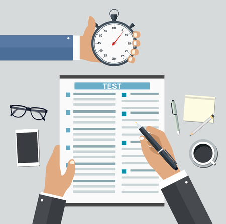 Employment on competitive basis. Filling resume writing tests concept
