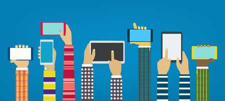 Hands with phones. Interaction hands using mobile apps. Concept for web and mobile Illustration