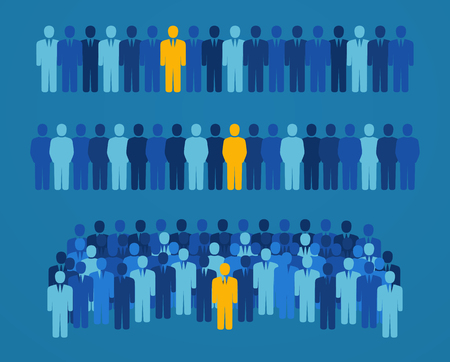 Group of people with a yellow candidate for elective office. Concept of employment and job search