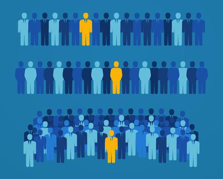 puesto de trabajo: Grupo de personas con un candidato de color amarillo para los cargos de elección popular. Concepto de empleo y la búsqueda de empleo Vectores