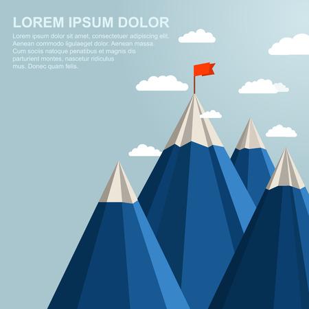 concepto: Paisaje con bandera roja en la parte superior de la montaña. Concepto de la dirección Vectores