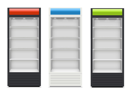 refrigerator: Fridges with glazed door on white background