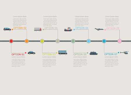 transport icons: Transportation infographic timeline with stepwise numbered structure