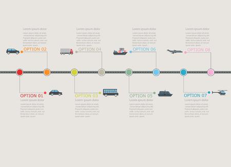 trasporti: Trasporti temporale infografica con graduale numerato struttura Vettoriali